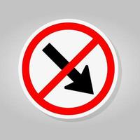 Forbid Keep Right by The Arrow Red Circle Traffic Road Sign Isolate On White Background,Vector Illustration vector