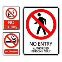 set sign label No smoking,no fishing,no entry authorised persons only vector