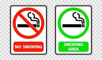 No smoking and smoking area sign label on transparent background vector