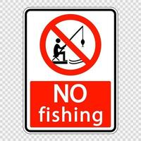 no fishing sign label on transparent background vector