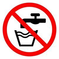 No beber agua símbolo signo aislar sobre fondo blanco, ilustración vectorial eps.10 vector