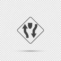 Señal de carretera de doble carruaje sobre fondo transparente vector