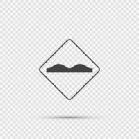 Uneven road surface sign on transparent background vector