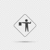 Flagger Ahead Sign on transparent background vector