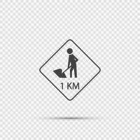 road construction ahead 1km.sign on transparent background vector