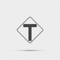 Junction ahead,The main intersection is T-shaped. sign on transparent background vector