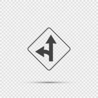 Left turn split sign on transparent background vector