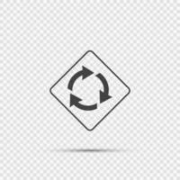 Roundabout ahead sign on transparent background vector