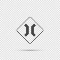Approaching narrow bridge sign on transparent background vector