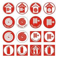 Set Fire Reel Hose Floor,Extinguisher Sign on white background vector