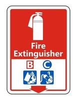 Symbol Fire Extinguisher B C Sign on white background vector