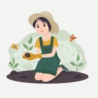 la niña planta plantas. voluntarios para trabajar en el jardín o el parque. el concepto de criar hijos para proteger la naturaleza. ilustración vectorial vector