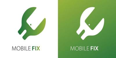 Mobile Fix Negative Space Logo Modern Design Green Color for Business, Company vector