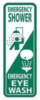 Ducha de emergencia, signo de lavado de ojos aislado sobre fondo blanco, ilustración vectorial vector
