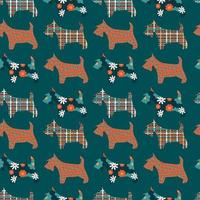 Seamless abstract pattern with terriers on blue background. vector