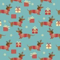 Christmas seamless pattern with dachshunds and gifts. Vector illustration.