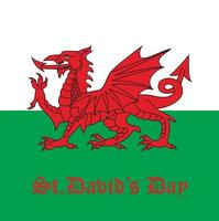 St. David's day. Flag of Wales. Vector illustration.