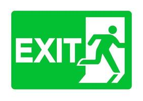 Exit Emergency Green Sign Isolate On White Background vector