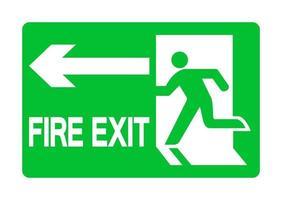 Salir de emergencia señal verde aislar sobre fondo blanco. vector