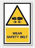 Wear Safety Belt Symbol Sign Isolate On White Background,Vector Illustration EPS.10 vector