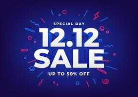 Special day 12.12 Shopping day sale poster or flyer design. 12.12 online sale. vector