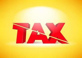 El impuesto 3d rojo se reduce a la mitad sobre fondo amarillo. vector