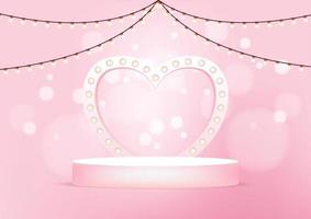 Empty round stage with heart shaped arch illuminated by light bulbs. pink studio background for product display. vector
