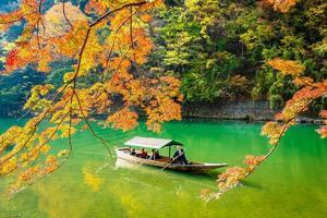 Boat on the Arashiyama river in Kyoto, Japan photo