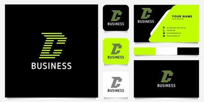 Bright Green Arrow Rounded Lines Letter C Logo in Black Background with Business Card Template vector