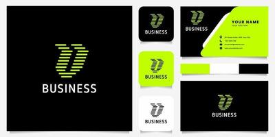 Bright Green Arrow Rounded Lines Letter V Logo in Black Background with Business Card Template vector
