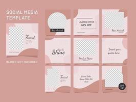 Template Design Social Media Fashion Women Puzzle Feed vector