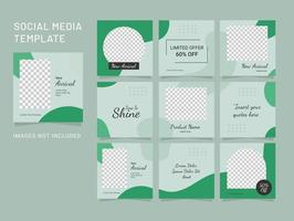 Template Social Media Fashion Women Puzzle Feed vector