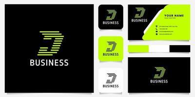 Flecha verde brillante líneas redondeadas logotipo de la letra j en fondo negro con plantilla de tarjeta de visita vector