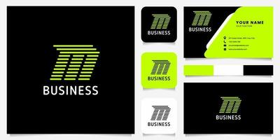 Bright Green Arrow Rounded Lines Letter M Logo in Black Background with Business Card Template vector