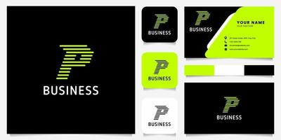 Bright Green Arrow Rounded Lines Letter P Logo in Black Background with Business Card Template vector