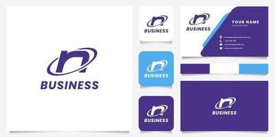 Logotipo de la letra n del círculo de órbita simple y minimalista con plantilla de tarjeta de visita