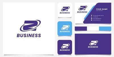 Logotipo de la letra z del círculo de órbita simple y minimalista con plantilla de tarjeta de visita