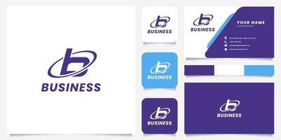 Logotipo de la letra b del círculo de órbita simple y minimalista con plantilla de tarjeta de visita