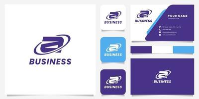 Círculo de órbita simple y minimalista letra a logotipo con plantilla de tarjeta de visita