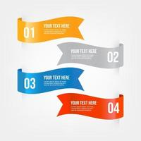 Set of ribbons Infographic banner. Colored ribbon labels with a set of steps. vector