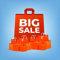 Big sale red shopping bags. vector