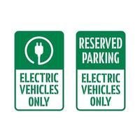 Reserved Parking, Electric Vehicles Only sign. vector