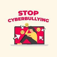Detenga el texto del ciberacoso con una mujer triste sentada en la computadora portátil. acoso en las redes sociales, acoso cibernético. vector