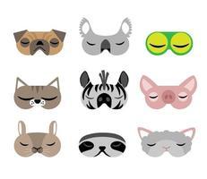 Los niños duermen máscaras en diseños de animales sobre fondo blanco. vector