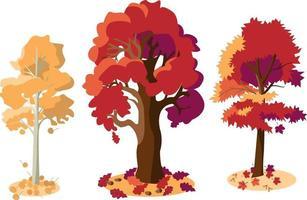 Aspen, oak, maple. Flat. vector