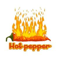 pimiento picante arde con fuego. logotipo de vector aislado. ilustración vectorial