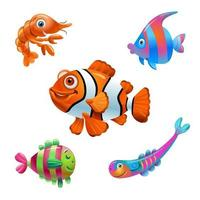 Vector fish on a white background. Cartoon fish characters. Isolated fish on a white background. Sea fish. Vector illustration
