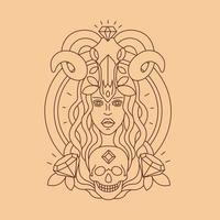 Linear tattoo. Girl face and skull. Line illustration vector