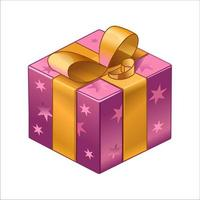 Purple shiny box with gifts, with a gold ribbon and stars. Isolated. Vector isometry illustration