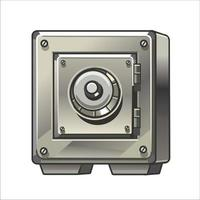 Metal armored safe on a white background. Isolated icon. Vector illustration